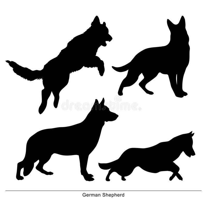 The dogs is big and small. German Shepherd. royalty free illustration