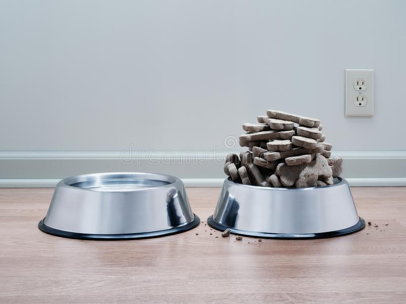 Dog biscuits pile high for spoiled and pampered pet. Dog biscuits heaped high for spoiled pampered obese pet. With water bowl on wood floor and cool grey stock photography