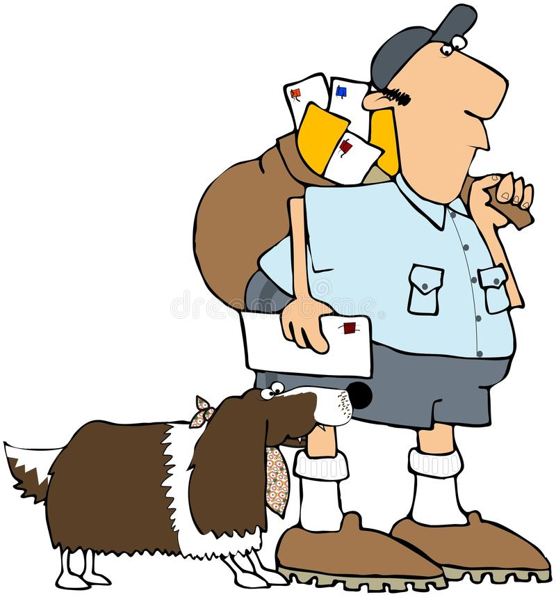 Dog Biting A Mailman royalty free illustration