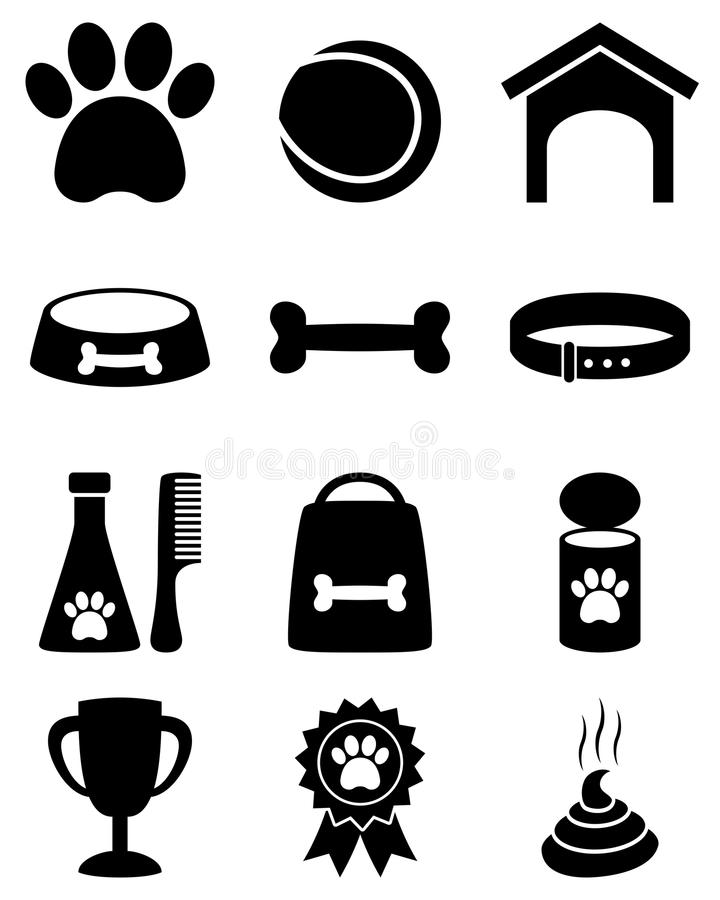 Dog Black and White Icons. Collection of 12 black and white dog care icons, isolated on white background. Eps file available vector illustration