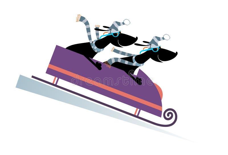 Dog bobsledding cartoon illustration royalty free illustration