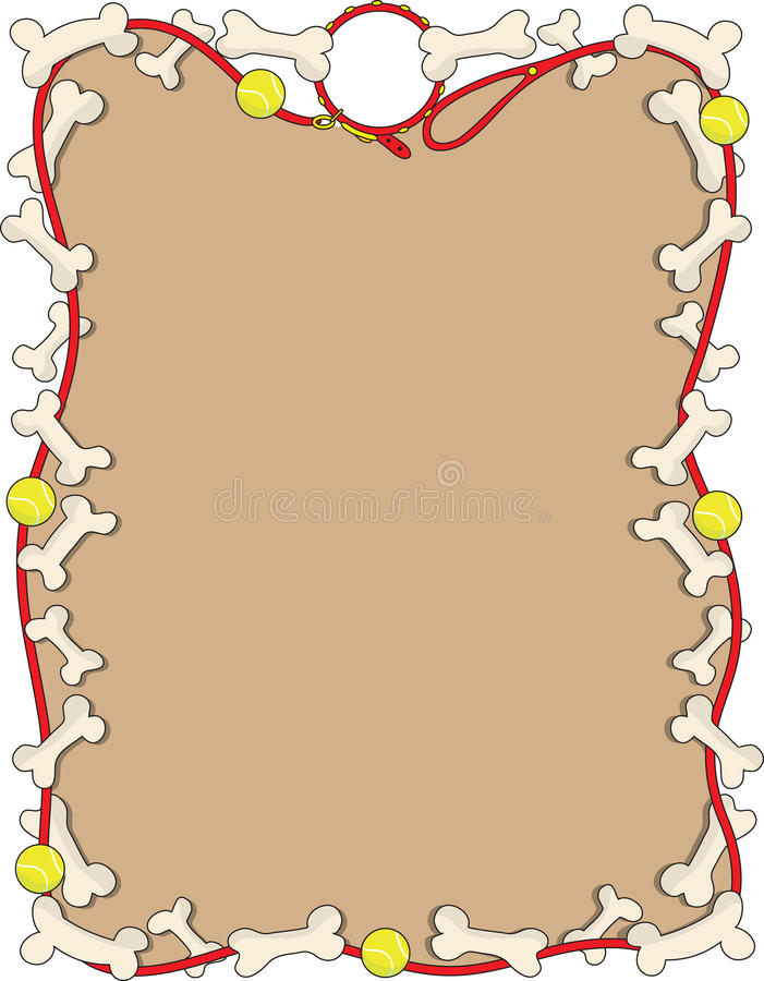 Dog Bone Border. A border or frame featuring a dog leash some tennis balls and bones