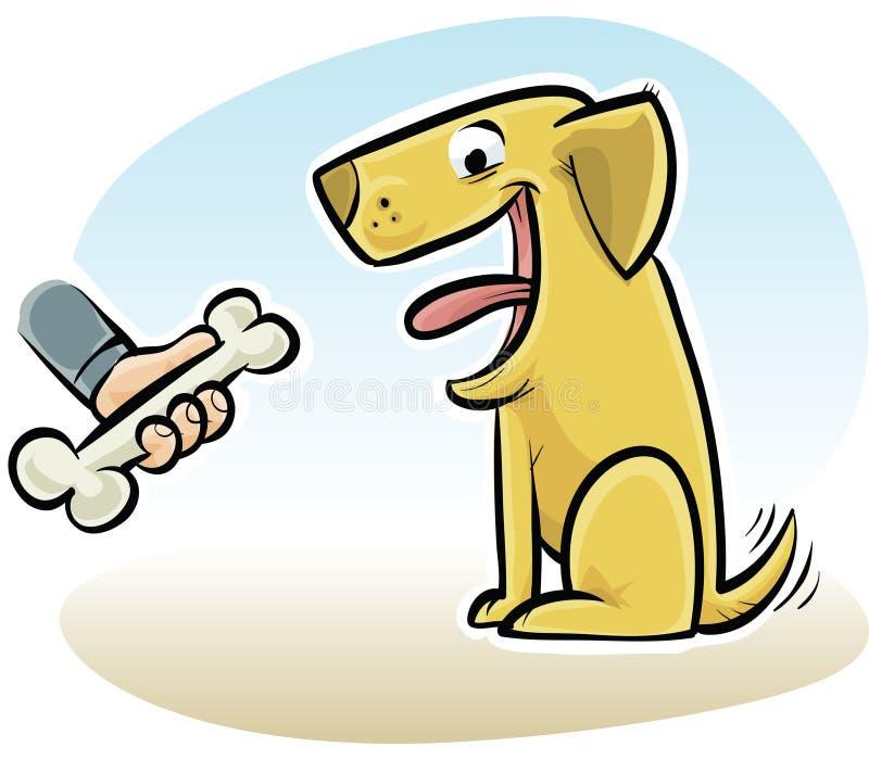 Dog Bone. A cartoon hand offers a dog a bone royalty free illustration