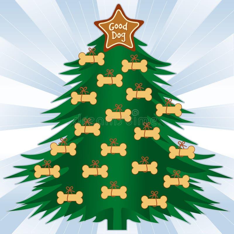 Dog Bone Christmas Tree. Christmas Tree with dog bone treats. Good dog gingerbread star ornament on top, blue background. EPS8 compatible