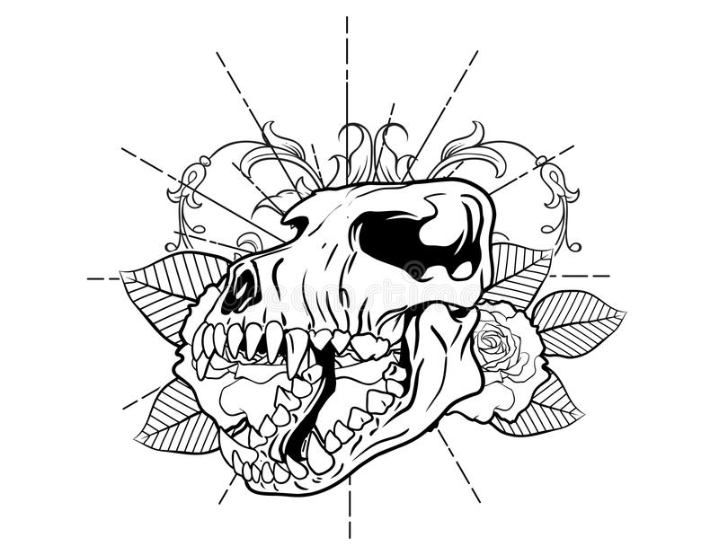 Dog bones with flower and leafes vintage neo traditional tattoo black and white sketch. tattoo and t-shirt designs. Hand drawn retro animal tattoo sketch with royalty free illustration