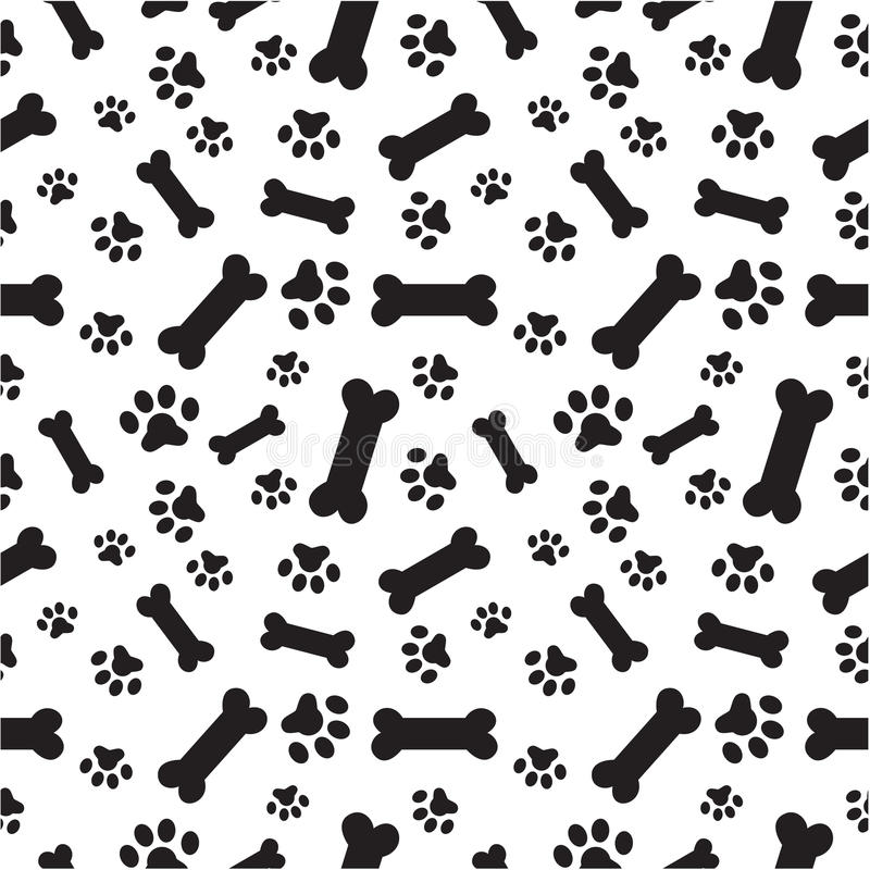 Dog bones and paws pattern stock vector. Illustration of frame ...