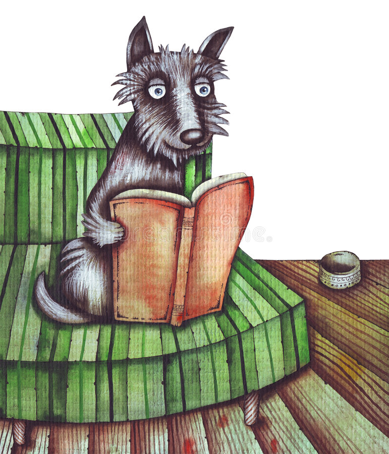 Download Dog and book stock illustration. Image of drawing, fluffy - 5177274