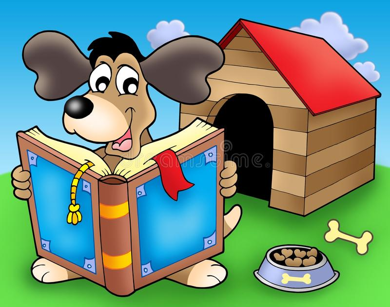 Download Dog With Book In Front Of Kennel Stock Illustration - Image: 9542001