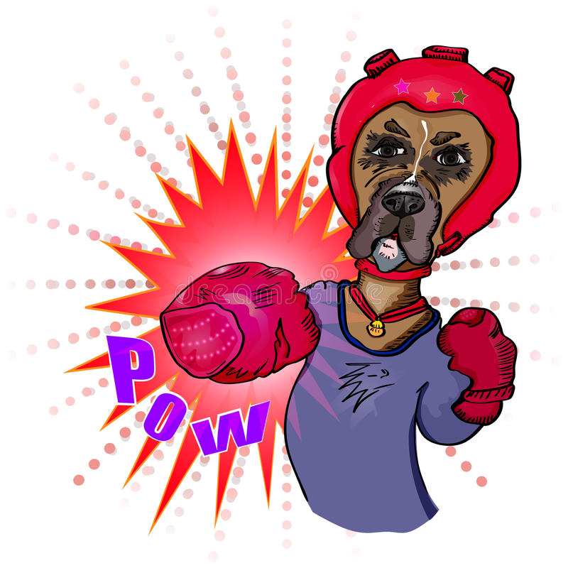 Dog boxer does blow. Vector royalty free illustration