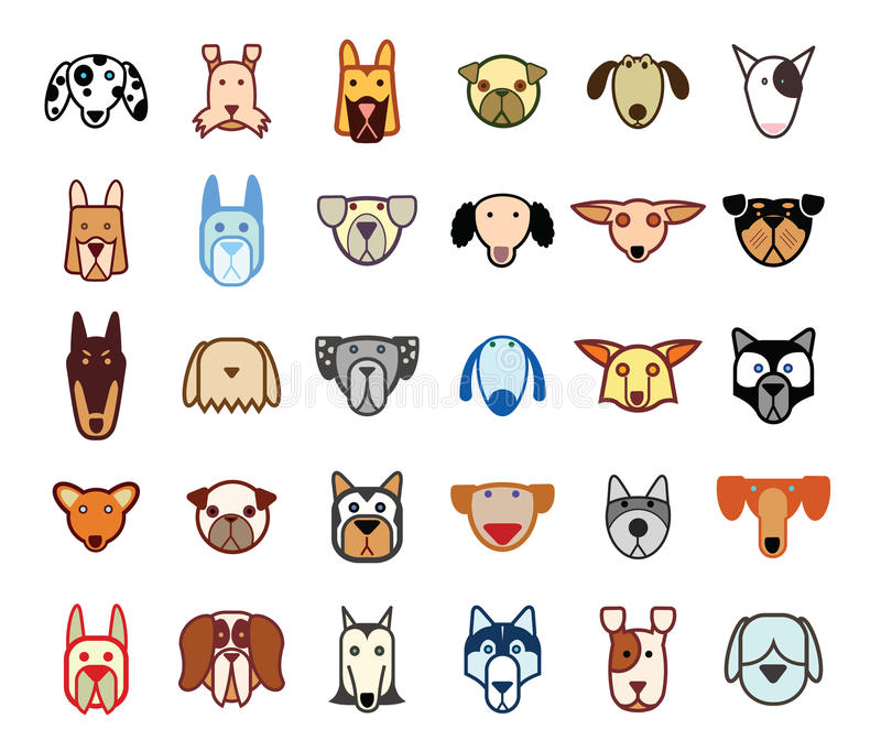 Dog breed collection icons - vector illustration. stock illustration