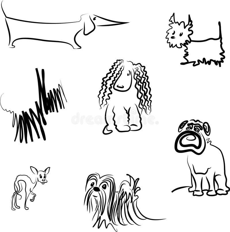 Dog breeds royalty free illustration