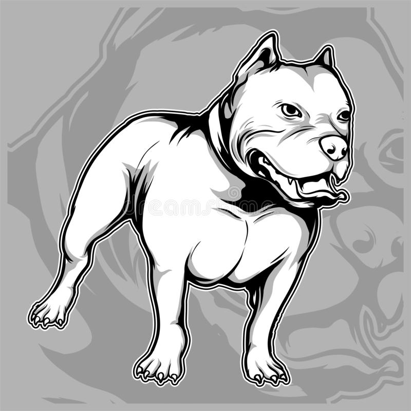 Dog breeds the American pit bull hand drawing vector stock illustration
