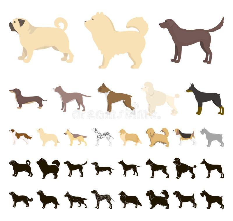 Dog breeds cartoon, black icons in set collection for design.Dog pet vector symbol stock web illustration. vector illustration