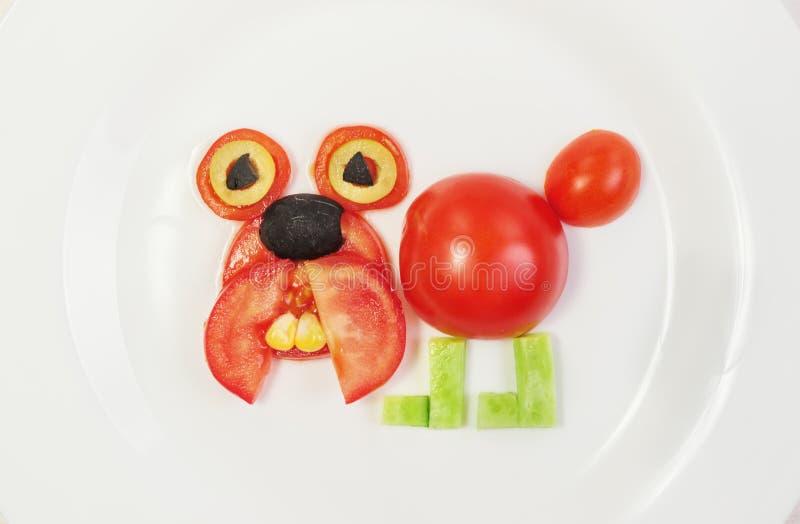 Dog, Bulldog of fresh tomatoes, stock photo