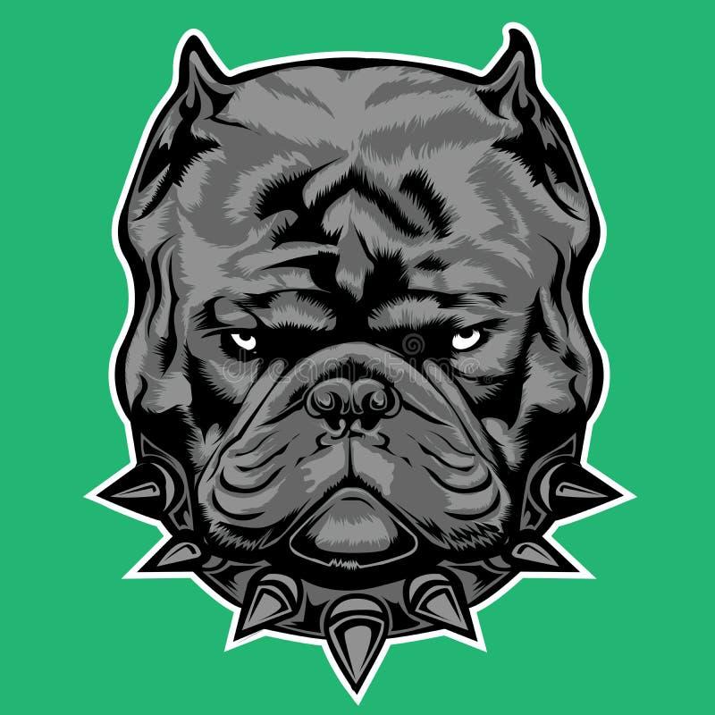 Dog Bully Exotic Gray collar Bulldog vector illustration