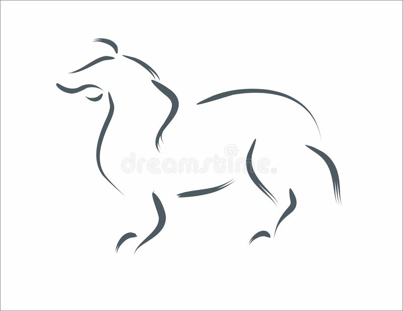Dog in calligraphic line arts freehand varying widths contour strokes logo element. Dog calligraphic line arts freehand varying widths contour strokes linear royalty free illustration