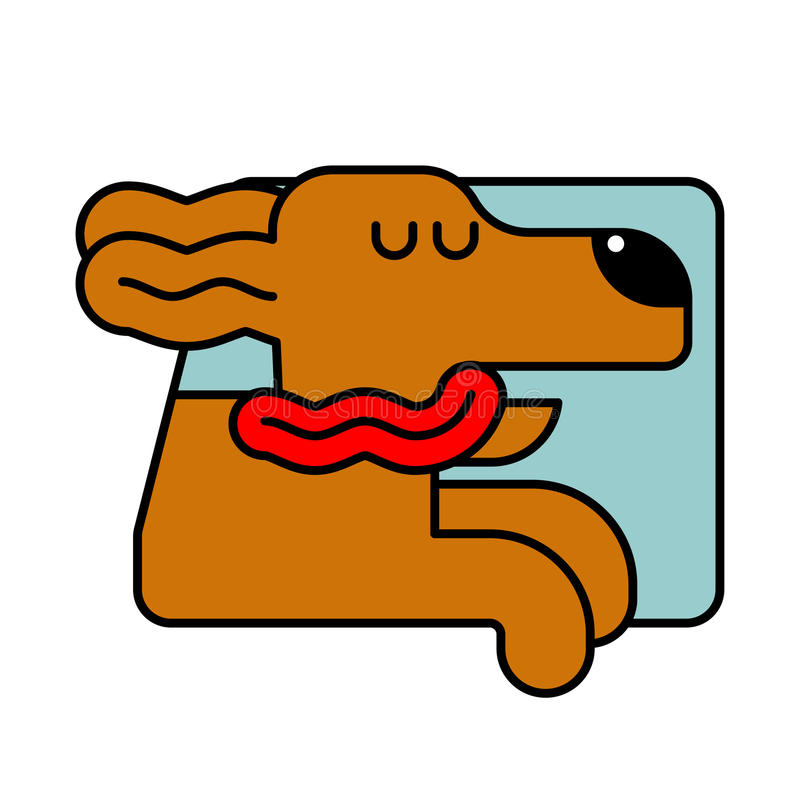 Dog from car window. pet to ride in auto. Traveling is an animal stock illustration