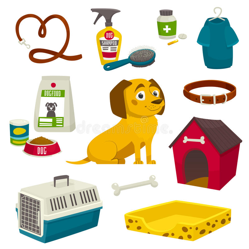 Dog care object set, items and stuff, vector cartoon illustration. Food stuff bone kennel collar clothing medicines