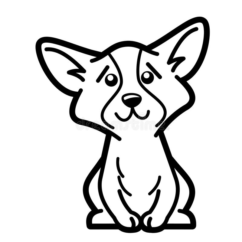 Dog Cartoon Character Coloring Page Black And White Stock ...