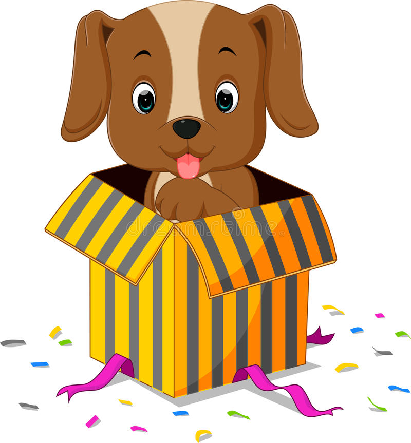 Dog cartoon. Coming out of gift box stock illustration
