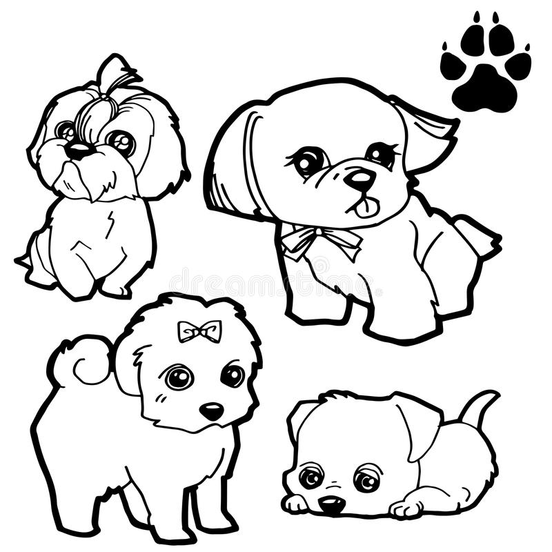 Download Dog Cartoon And Paw Print Coloring Book On White Background Vector Stock