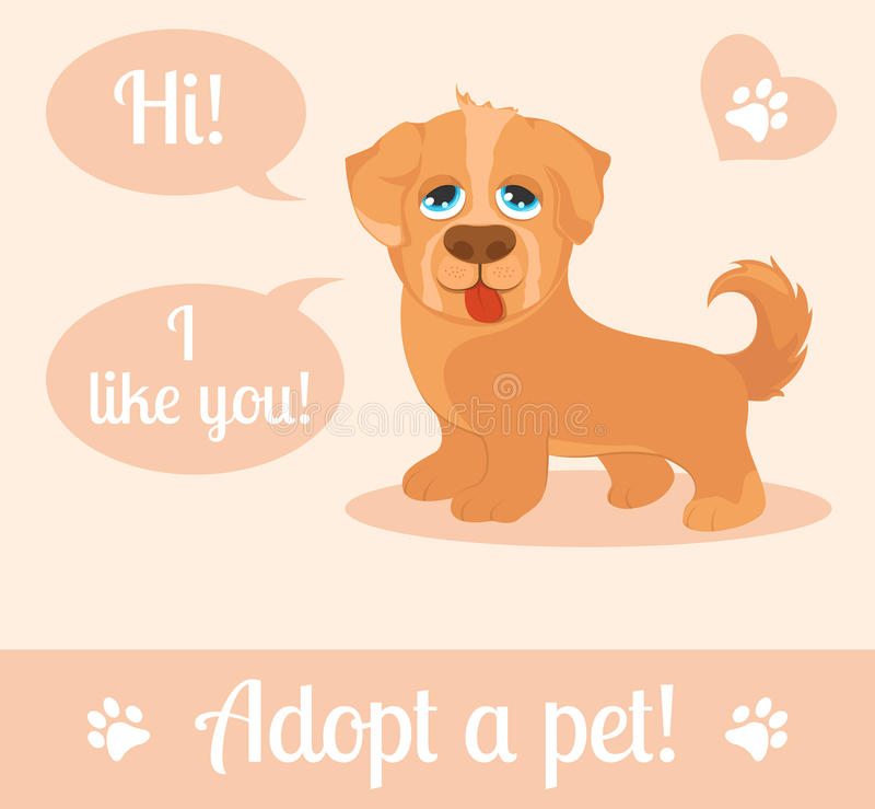 Dog in a cartoon style. Do not shop, adopt. Dog adoption concept. Vector illustration stock illustration