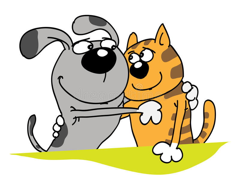 Dog and cat. The dog and cat, friends, embrace, smile, good relations vector illustration