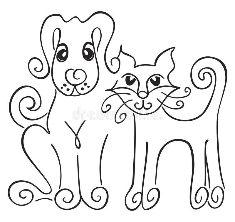 Download Dog and cat stock vector. Image of cute, adorable, portrait - 19416177