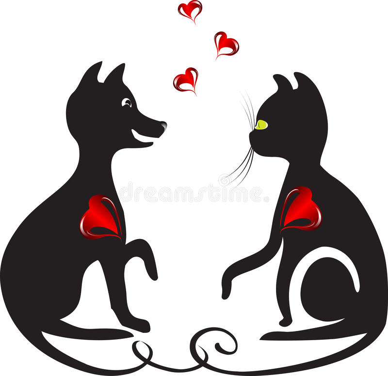 Download Dog and cat stock vector. Illustration of domestic, tattoo - 22899966