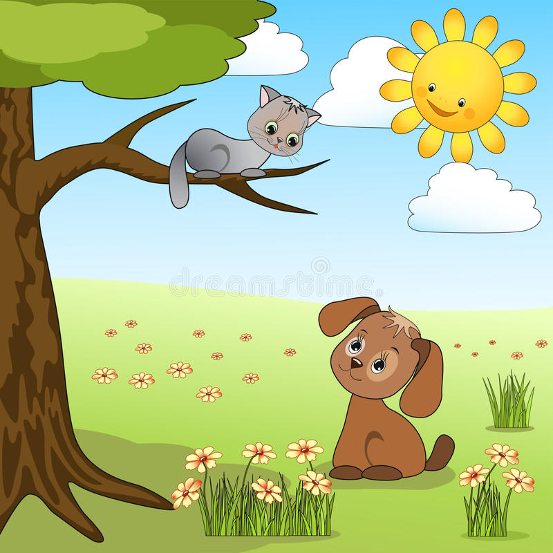 Dog and cat. royalty free illustration