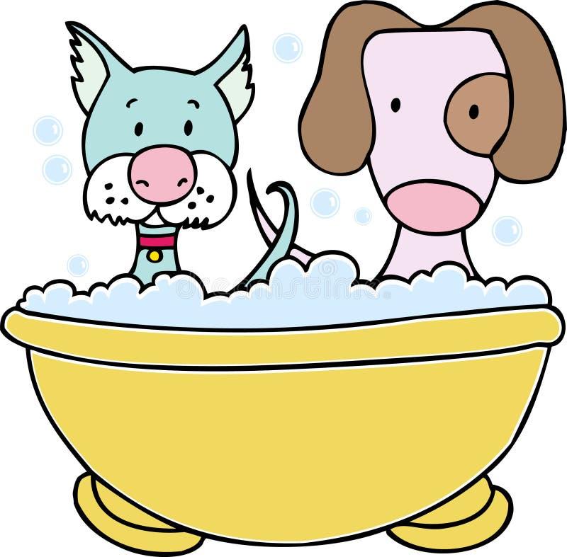 Dog and Cat Bath vector illustration