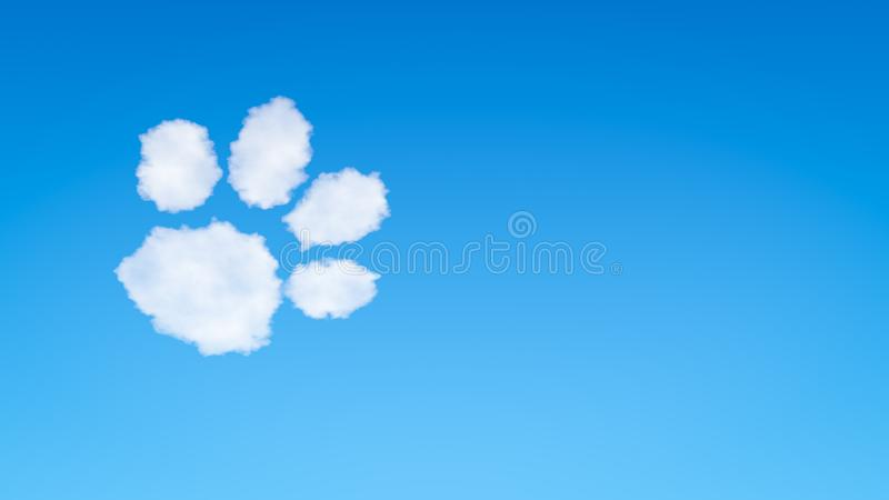 Dog or Cat Footprint Symbol Shaped Cloud. Dog or Cat Footprint Symbol Shape Cloud in the Blue Sky with Copyspace vector illustration