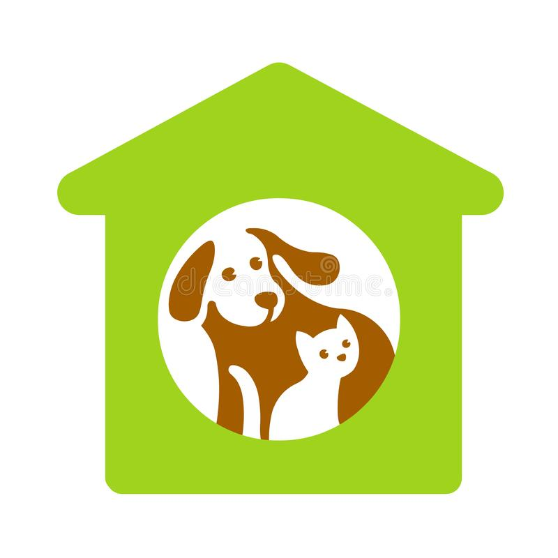 Dog and cat in green house on white. royalty free stock photo