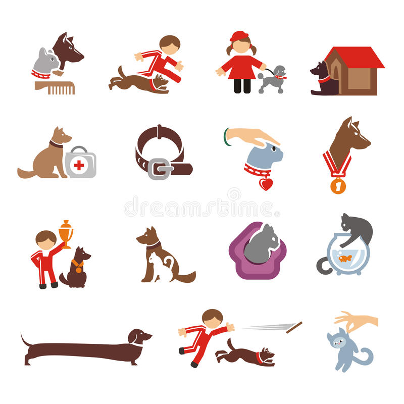 Dog & Cat icons set. Authors illustration in vector