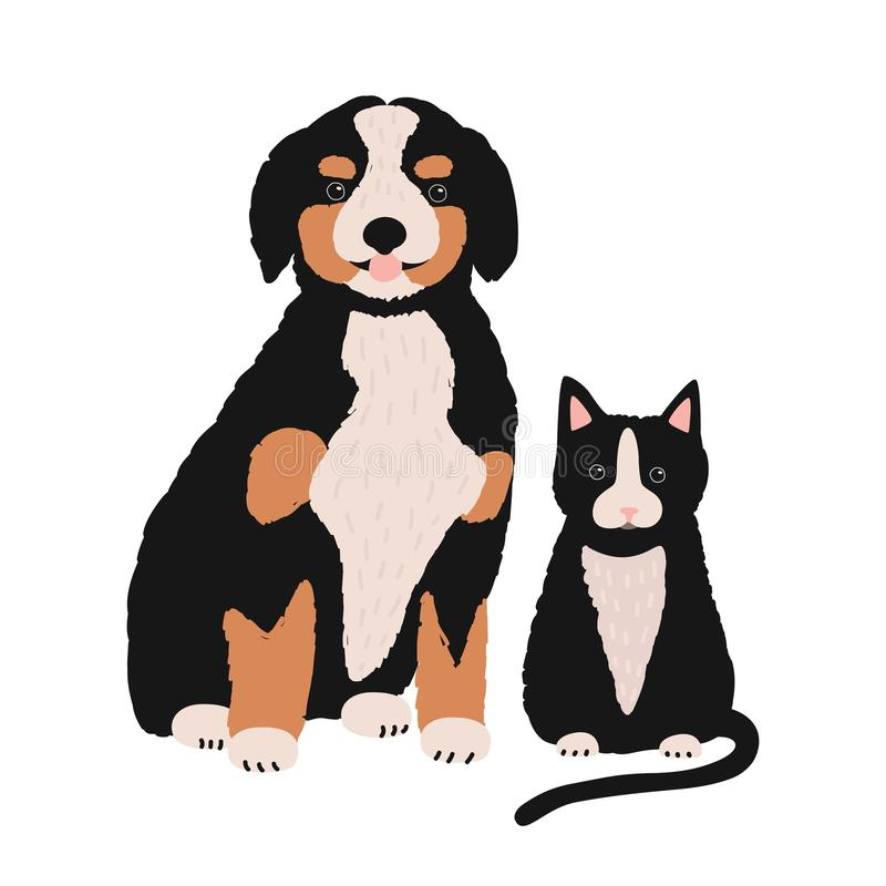 Dog and cat isolated on white background. Cute amusing puppy and kitten sitting together. Pair of lovely cartoon royalty free illustration