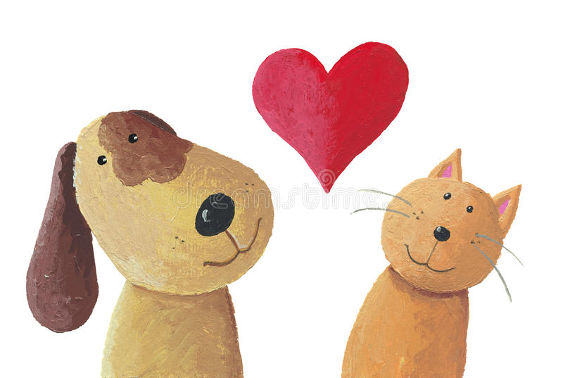 Dog and cat in love. Acrylic illustration of cat and dog in love