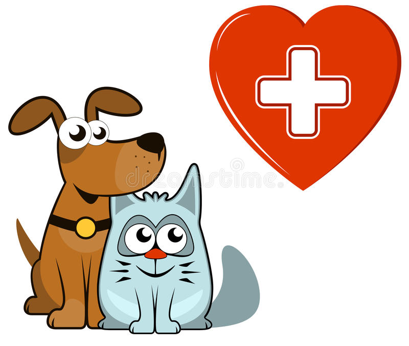 Dog and cat with medical heart and cross vector illustration