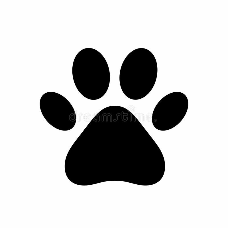 Dog or cat paw. Black paw print isolated on white background. Vector royalty free illustration