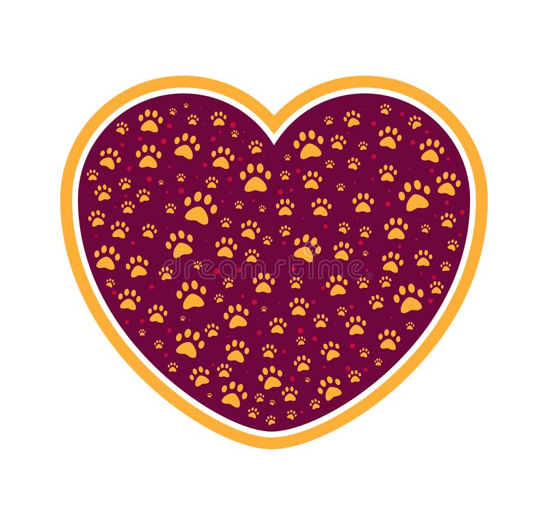 Dog or cat paw in heart. Pet care. Love icon. Protection of animal rights. Not tested on animal mark or symbol. Grooming vector illustration