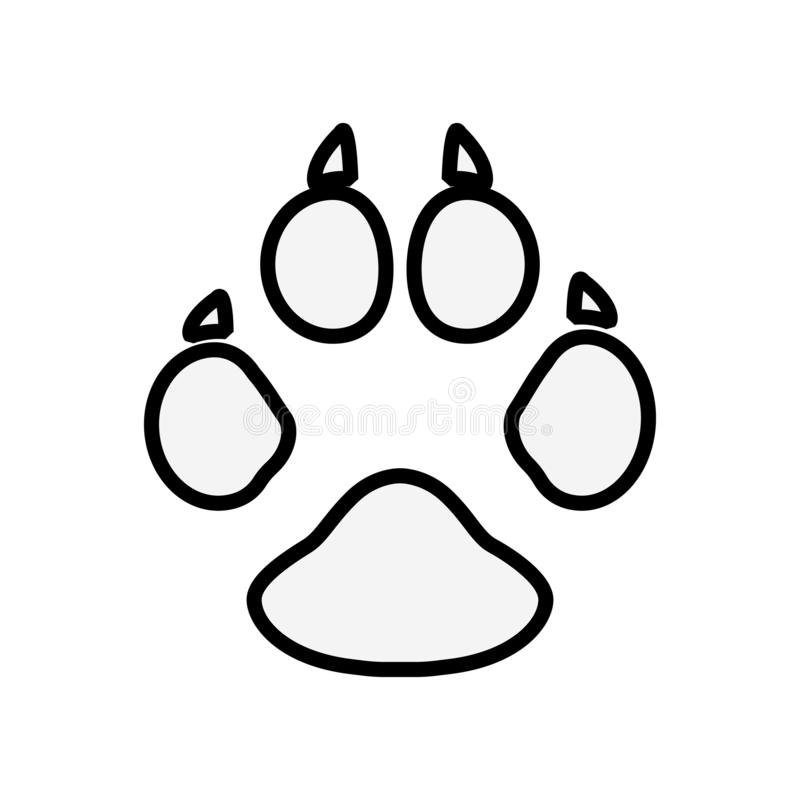 Dog or cat paw print line art vector icon for animal apps and websites. Eps10 vector illustration