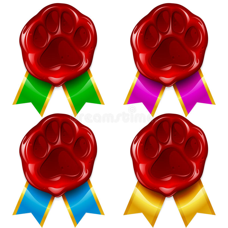 Download Dog Or Cat Paw Wax Seal And Color Ribbon Stock Vector - Illustration: 24631383