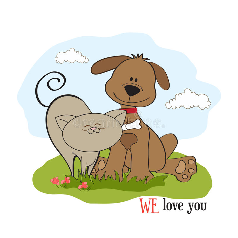 Download Dog & cat's friendship stock vector. Image of clip, funny - 24668246