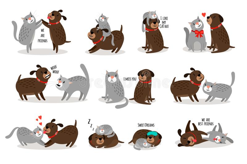 Dog and cat together. Funny dog with cat are best friends vector illustration, cartoon pets with funny texts isolated on white background stock illustration