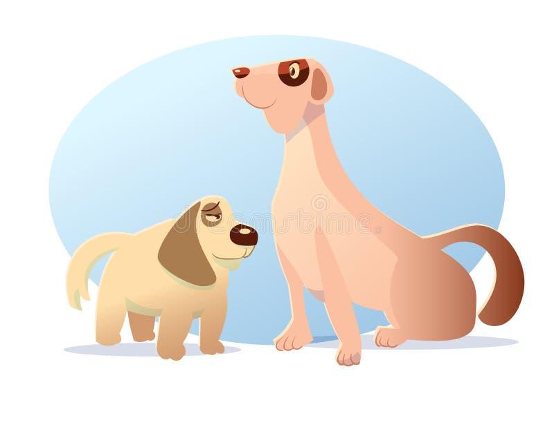 Dog charactor cartoon styled vector illustration. 2 dog charactor hand drawn style vector cartoon illustration stock illustration