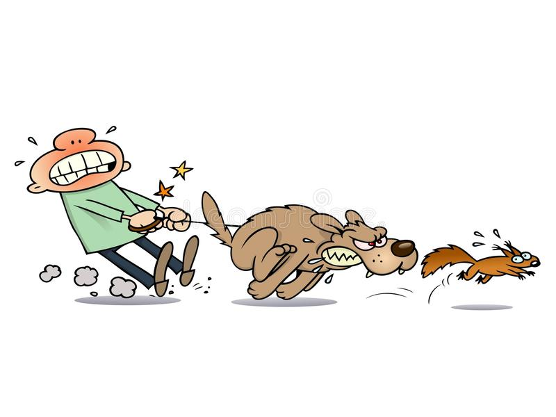 Dog chasing a squirrel royalty free illustration