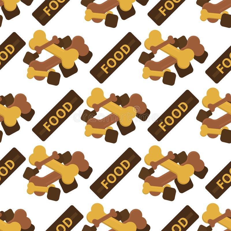 Dog chew bone care biscuit animal food puppy canine seamless pattern background vector illustration. stock illustration
