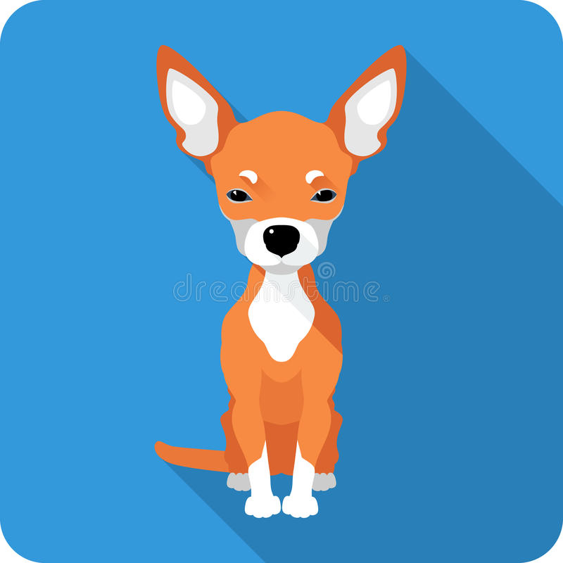 Dog Chihuahua icon flat design. Vector cute red dog Chihuahua icon flat design royalty free illustration