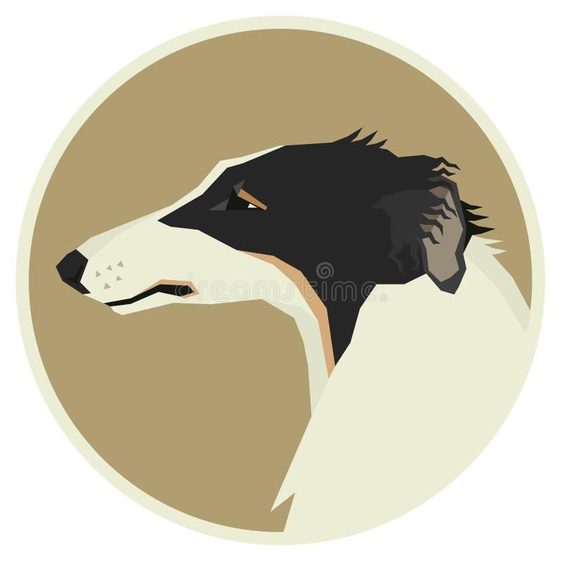 Dog collection Borzoi Geometric style Avatar icon round. Set vector illustration
