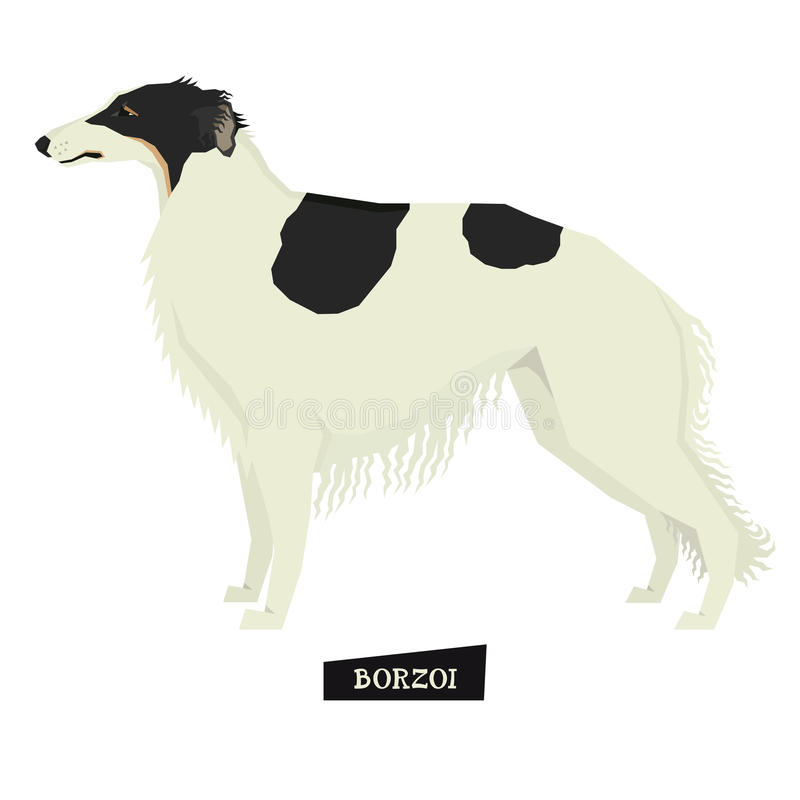 Dog collection Borzoi Geometric style. Isolated royalty free illustration