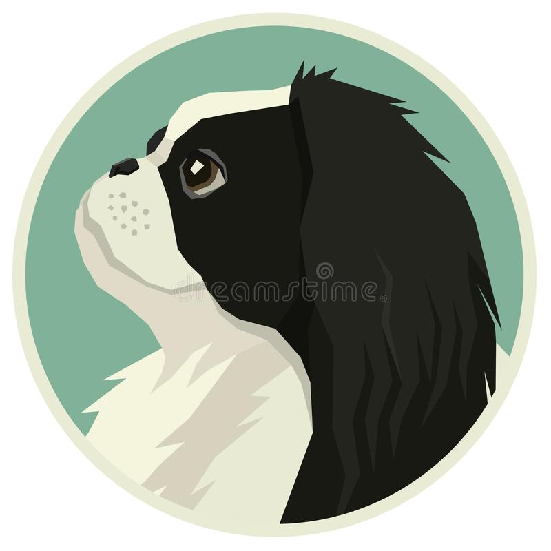Dog collection Japanese Chin Geometric style Avatar icon round. Set vector illustration